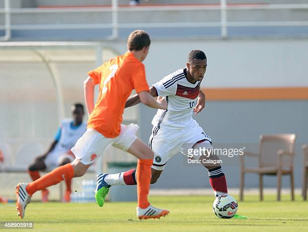 Anton Donkor of Germany challenges Julian Lelieveld of Netherlands during the international friendly match between U18 Germany and U18 Netherlands on...