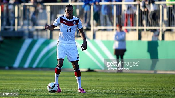 Anton Donkor of Germany runs with the ball during the U18 international friendly match between Germany and Wales at Eintracht Stadion on April 21...