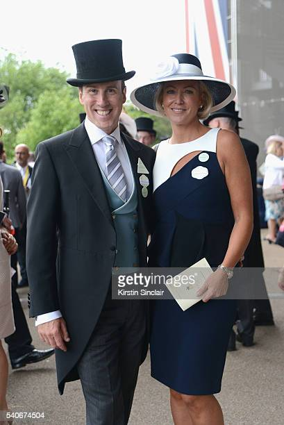 Anton du Beke and Hannah Summers attend day 3 of Royal Ascot at Ascot Racecourse on June 16 2016 in Ascot England