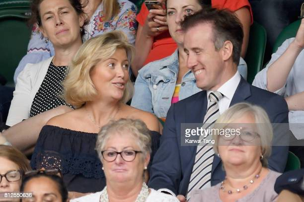 Anton du Beke and his wife Hannah Summers attend day eight of the Wimbledon Tennis Championships at the All England Lawn Tennis and Croquet Club on...