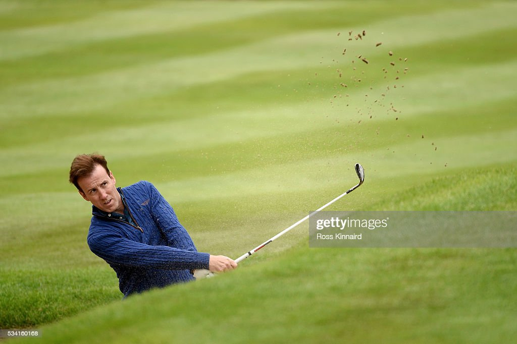 <a gi-track='captionPersonalityLinkClicked' href=/galleries/search?phrase=Anton+du+Beke&family=editorial&specificpeople=655494 ng-click='$event.stopPropagation()'>Anton du Beke</a> in action during the Pro-Am prior to the BMW PGA Championship at Wentworth on May 25, 2016 in Virginia Water, England.
