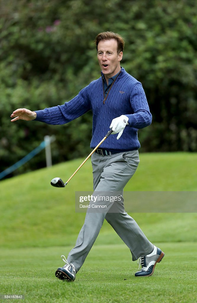 <a gi-track='captionPersonalityLinkClicked' href=/galleries/search?phrase=Anton+du+Beke&family=editorial&specificpeople=655494 ng-click='$event.stopPropagation()'>Anton du Beke</a> reacts during the Pro-Am prior to the BMW PGA Championship at Wentworth on May 25, 2016 in Virginia Water, England.