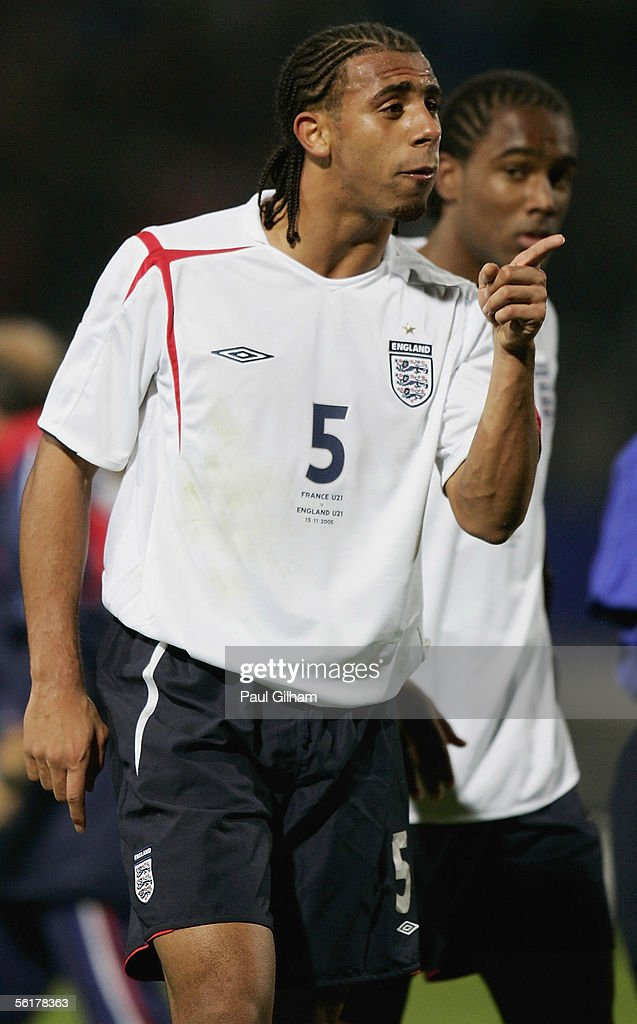 Anton Ferdinand of England makes his feelings known at the end of the match after Lassana Diarra of France won a penalty in the final stages of the...