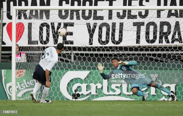 Anton Ferdinand of England misses during the penalty shoot out during the UEFA European Under21 Championship semifinal match between the Netherlands...