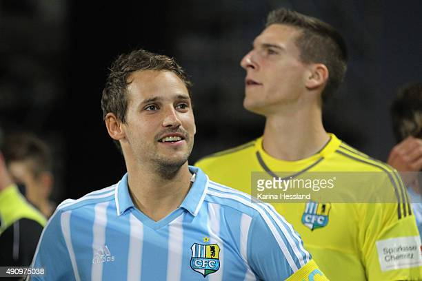 Anton Fink and Goalkeeper Kevin Kunz of Chemnitz before the Third League match between Chemnitzer FC and FC RotWeiss Erfurt at Stadion an der...