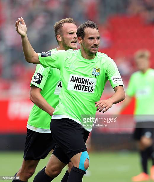 Anton Fink of Chemnitz celebrates after scoring his team's goal during the Third League match between Hallescher FC and Chemnitzer FC at...