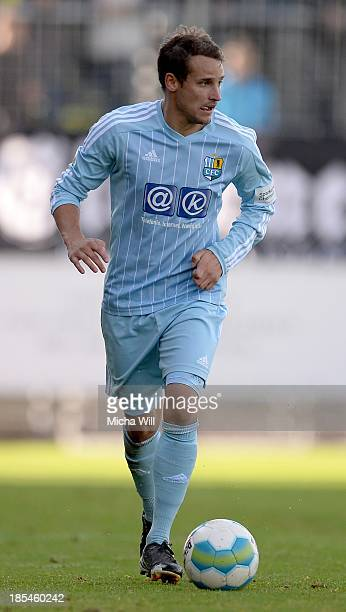 Anton Fink of Chemnitz controles the ball during the Third League match between Wacker Burghausen and Chemnitzer FC at WackerArena on October 19 2013...