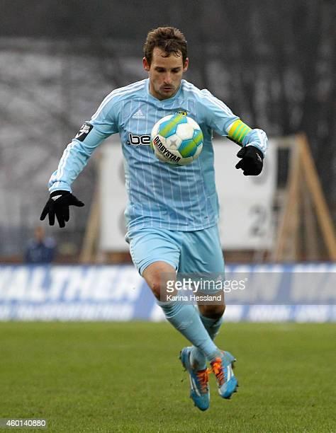 Anton Fink of Chemnitz during the 3Liga match between Chemnitzer FC and Hallescher FC at Stadion an der Gellertstrasse on Dezember 06 2014 in...