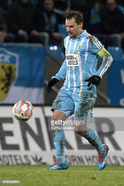 Anton Fink of Chemnitz during the Third League match between Chemnitzer FC and 1FC Magdeburg at Stadion an der Gellertstrasse on February 05 2016 in...