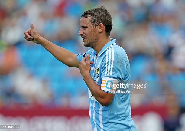 Anton Fink of Chemnitz gestures during the third league match between Chemnitzer FC and Holstein Kiel at Stadion an der Gellertstrasse on August 22...