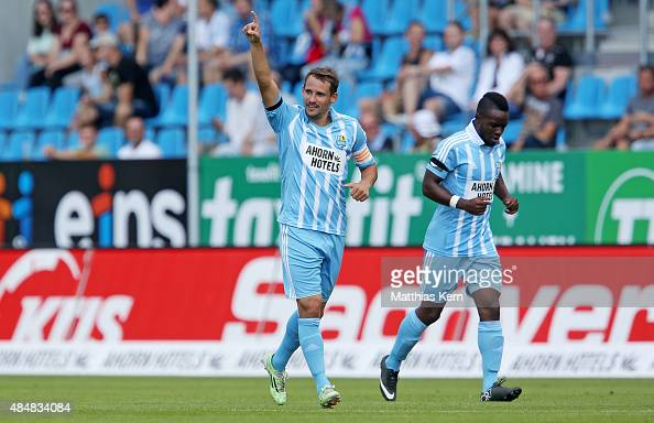 Anton Fink of Chemnitz jubilates after scoring the second goal during the third league match between Chemnitzer FC and Holstein Kiel at Stadion an...