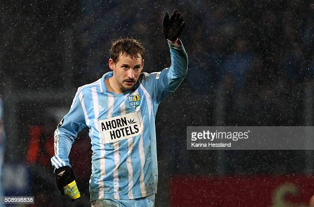 Anton Fink of Chemnitz reacts during the Third League match between Chemnitzer FC and 1FC Magdeburg at Stadion an der Gellertstrasse on February 05...