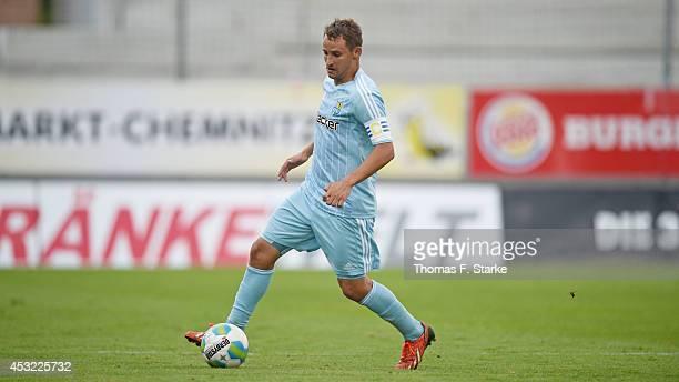 Anton Fink of Chemnitz runs with the ball during the Third League match between Chemnitzer FC and Arminia Bielefeld at Stadium an der Gellertstrasse...