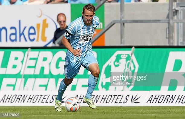 Anton Fink of Chemnitz runs with the ball during the third league match between Chemnitzer FC and Holstein Kiel at Stadion an der Gellertstrasse on...