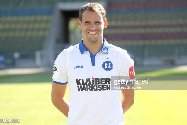 Anton Fink of Karlsruher SC poses during the team presentation at Wildparkstadion on July 13 2017 in Karlsruhe Germany