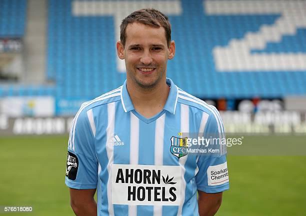 Anton Fink poses during the Chemnitzer FC team presentation on July 15 2016 in Chemnitz Germany