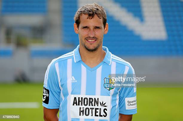 Anton Fink poses during the official team presentation of Chemnitzer FC at the Stadion an der Gellertstrasse on July 8 2015 in Chemnitz Germany on...
