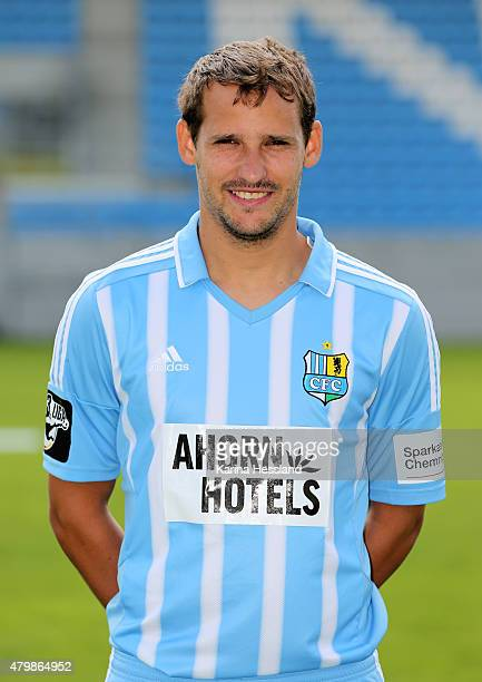 Anton Fink poses during the official team presentation of Chemnitzer FC at the Stadion an der Gellertstrasse on July 8 2015 in Chemnitz Germany