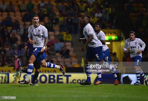 Anton Forrester of Bury celebrates his goal during the Sky Bet League One match between Coventry City and Bury at Sixfields on August 25 2013 in...