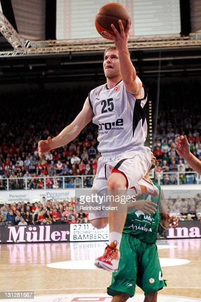 Anton Gavel of Brose Baskets jumps during the 20112012 Turkish Airlines Euroleague Regular Season Game Day 3 between Brose Baskets v Unicaja at...