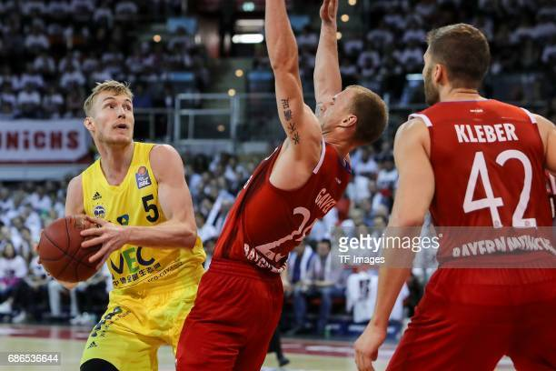 Anton Gavel of Munich und Niels Giffey of Berlin battle for the ball during the easyCredit BBL Basketball Bundesliga match between FC Bayern Muenche...