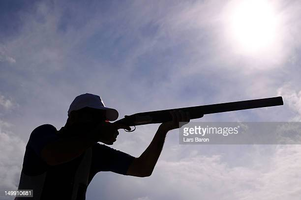 Anton Glasnovic of Croatia competes in the Men's Trap Shooting Final on Day 10 of the London 2012 Olympic Games at the Royal Artillery Barracks on...