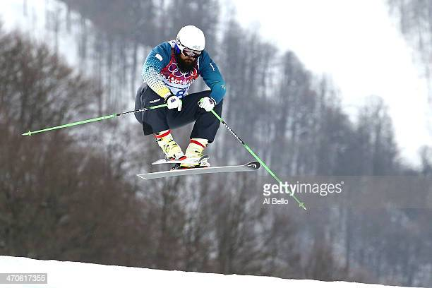 Anton Grimus of Australia competes during the Freestyle Skiing Men's Ski Cross Seeding on day 13 of the 2014 Sochi Winter Olympic at Rosa Khutor...