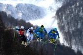 Anton Grimus of Australia Jonas Devouassoux of France Andreas Matt of Austria and Patrick Koller of Austria compete during the Freestyle Skiing Men's...