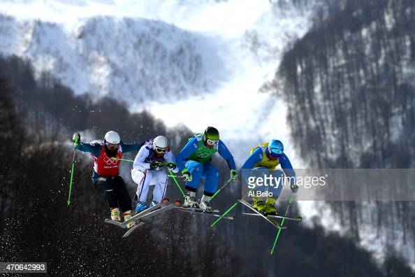 Anton Grimus of Australia Jonas Devouassoux of France Andreas Matt of Austria and Patrick Koller of Austria compete during the Freestyle Skiing Men's...