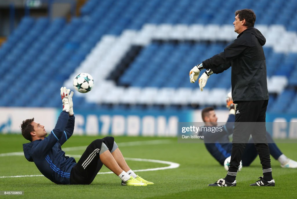 Anton Kanibolotskiy of Qarabag FK in action during a Qarabag training session ahead of the UEFA Champions League Group C match against Chelsea at Stamford Bridge on September 11, 2017 in London, England.