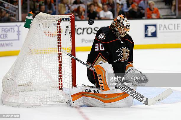 Anton Khudobin of the Anaheim Ducks blocks a shot during the second period of a game against the Minnesota Wild at Honda Center on October 18 2015 in...