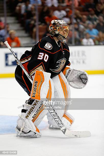 Anton Khudobin of the Anaheim Ducks defends during the second period of a game agains the Minnesota Wild at Honda Center on October 18 2015 in...