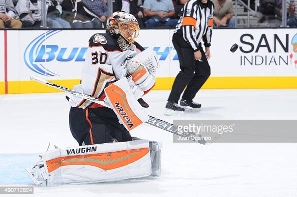 Anton Khudobin of the Anaheim Ducks eyes the puck during a game against the Los Angeles Kings at STAPLES Center on September 29 2015 in Los Angeles...