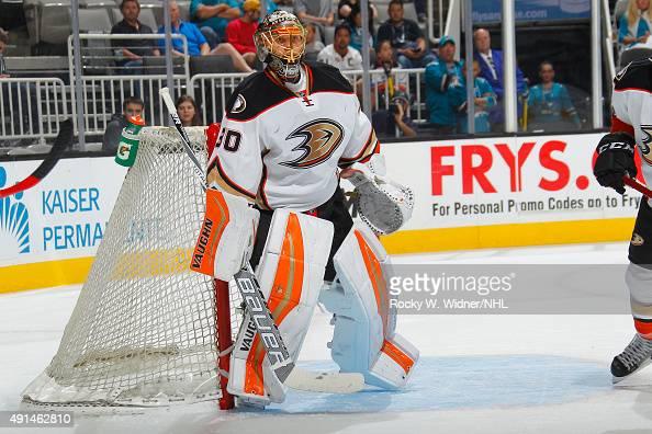 Anton Khudobin of the Anaheim Ducks protects the net against the San Jose Sharks at SAP Center on September 26 2015 in San Jose California