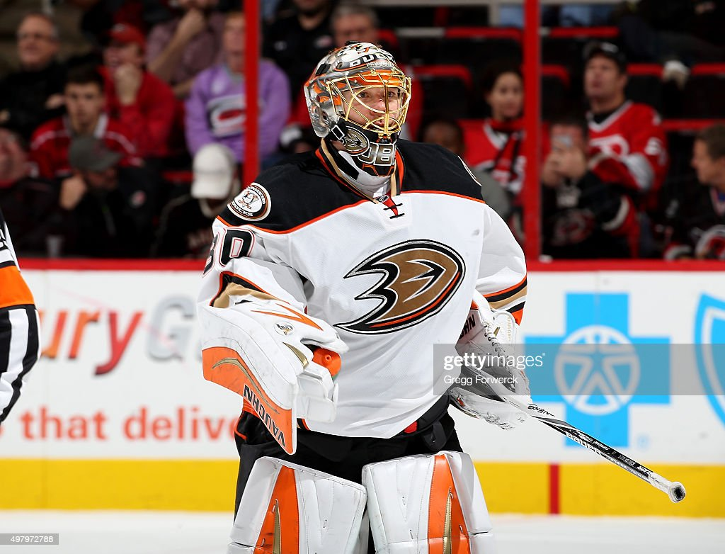 Anton Khudobin of the Anaheim Ducks skates to the bench area during a timeout of a NHL game against the Carolina Hurricanes at PNC Arena on November...