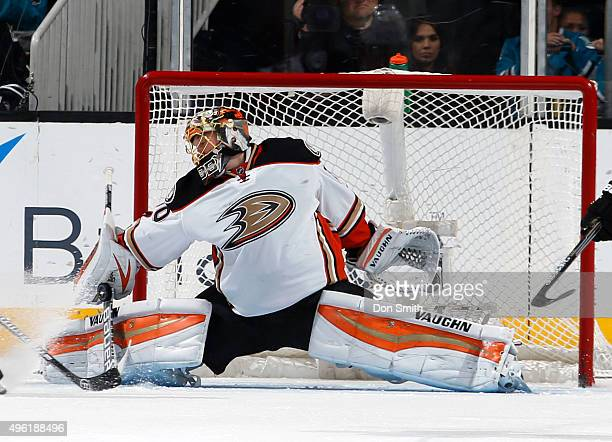 Anton Khudobin of the Anaheim Ducks stretches out to make the save during a NHL game at the SAP Center at San Jose on November 7 2015 in San Jose...