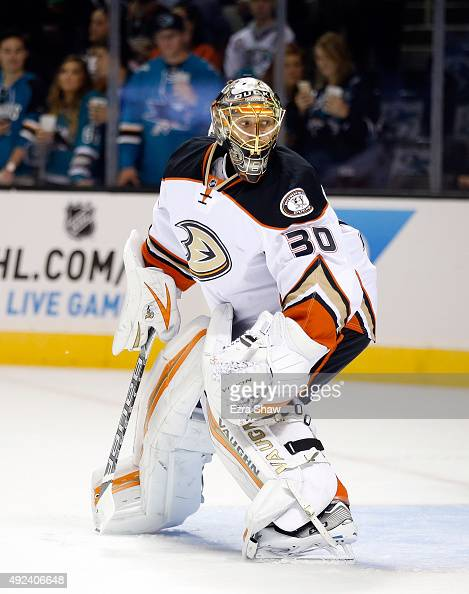Anton Khudobin of the Anaheim Ducks warms up before their game against the San Jose Sharks at SAP Center on October 10 2015 in San Jose California