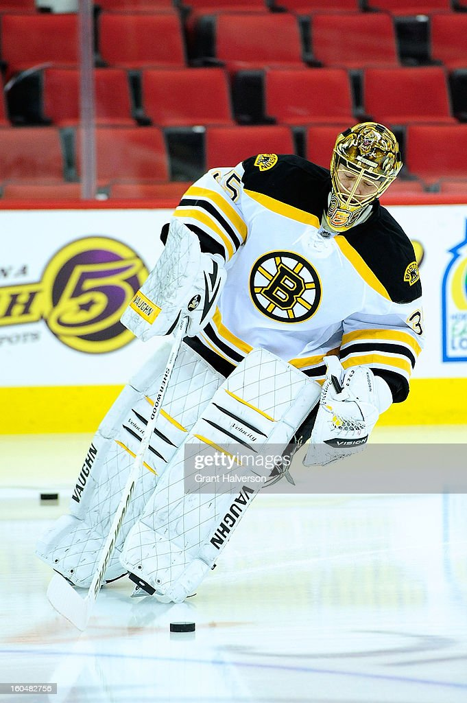<a gi-track='captionPersonalityLinkClicked' href=/galleries/search?phrase=Anton+Khudobin&family=editorial&specificpeople=722106 ng-click='$event.stopPropagation()'>Anton Khudobin</a> #35 of the Boston Bruins against the Carolina Hurricanes during play at PNC Arena on January 28, 2013 in Raleigh, North Carolina. The Bruins defeated the Hurricanes 5-3.