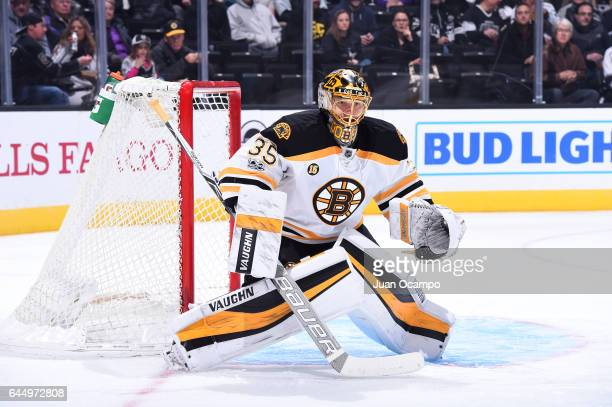 Anton Khudobin of the Boston Bruins defends the goal during a game against the Los Angeles Kings at STAPLES Center on February 23 2017 in Los Angeles...