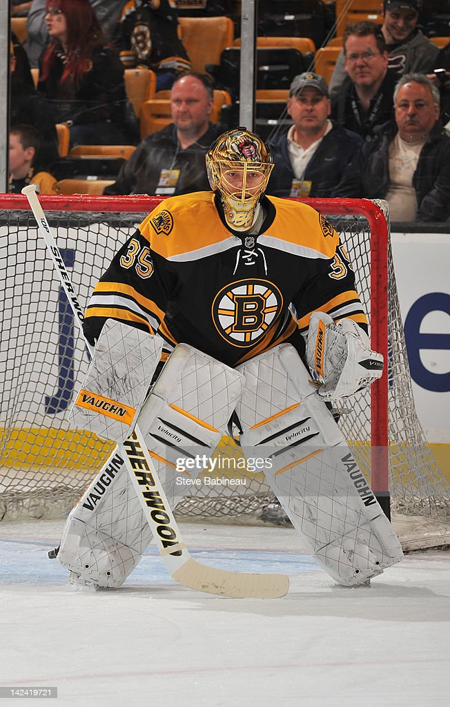 Anton Khudobin of the Boston Bruins during warm ups before the game against the Pittsburgh Penguins at the TD Garden on April 3 2012 in Boston...