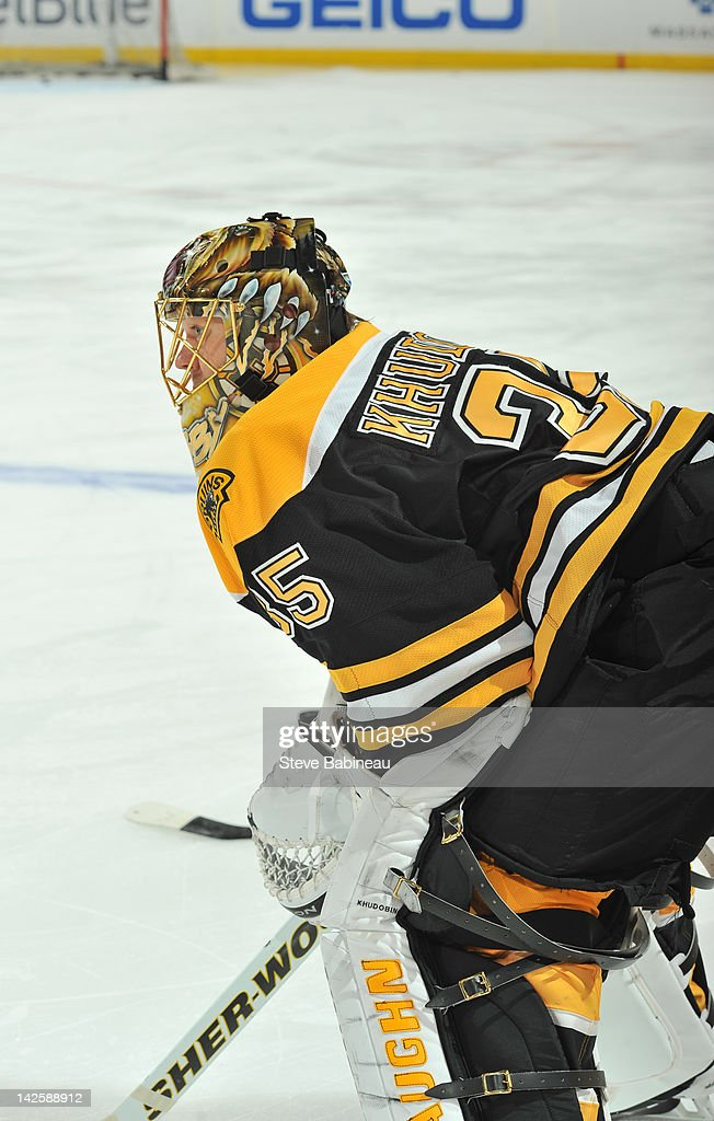 Anton Khudobin #35 of the Boston Bruins during warm ups prior to the game against the Buffalo Sabres at the TD Garden on April 7, 2012 in Boston, Massachusetts.