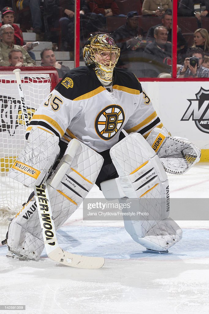 Anton Khudobin of the Boston Bruins guards his net during an NHL game against the Ottawa Senators at Scotiabank Place on April 5 2012 in Ottawa...