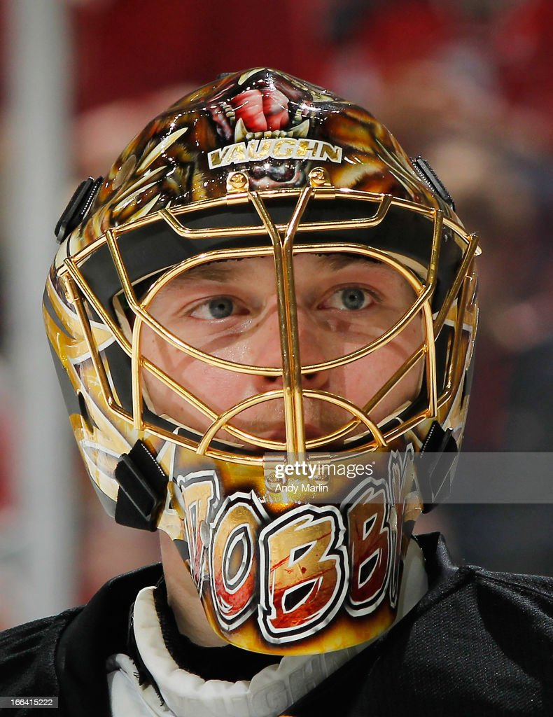 Anton Khudobin of the Boston Bruins looks on against the New Jersey Devils during the game at the Prudential Center on April 10 2013 in Newark New...