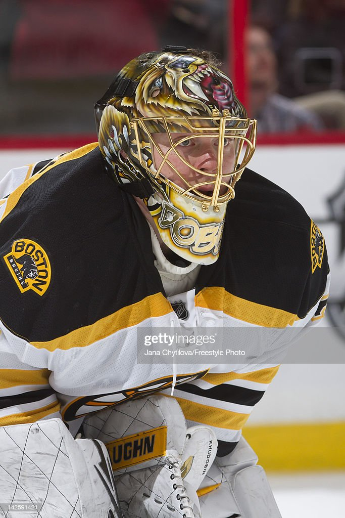 Anton Khudobin #35 of the Boston Bruins looks on during a stoppage in play in an NHL game against the Ottawa Senators at Scotiabank Place on April 5, 2012 in Ottawa, Ontario, Canada.