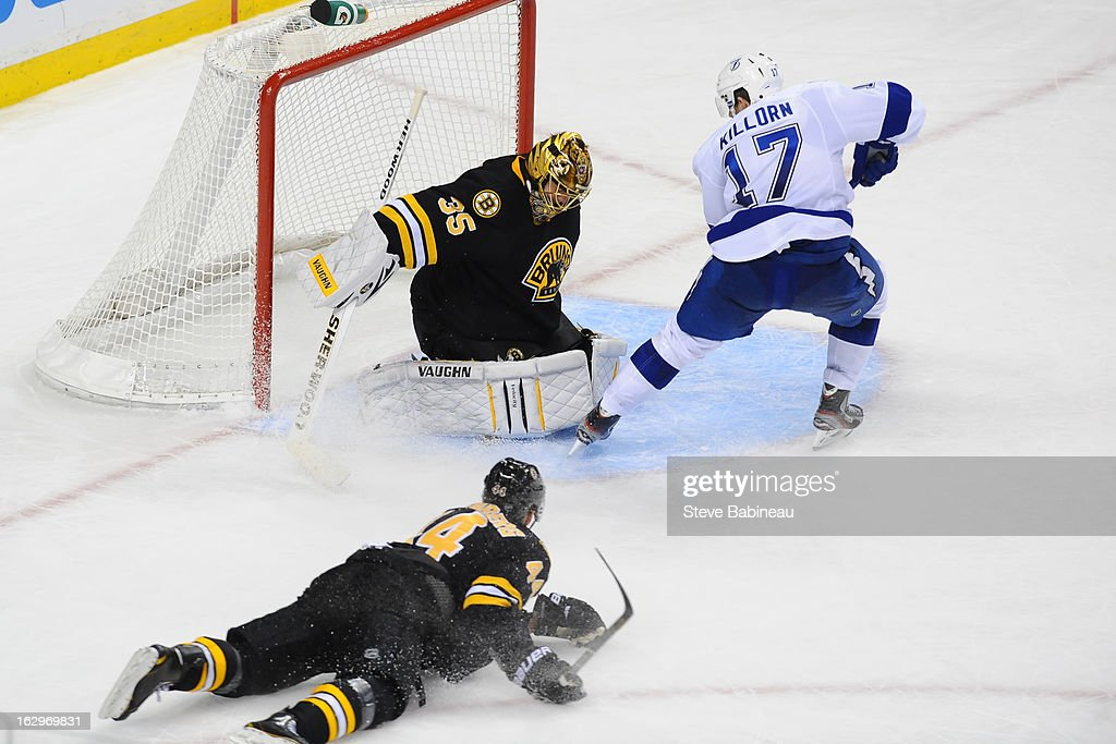 Anton Khudobin #35 of the Boston Bruins makes a save against Alexander Kilorn #17 of the Tampa Bay Lightning at the TD Garden on March 2, 2013 in Boston, Massachusetts.