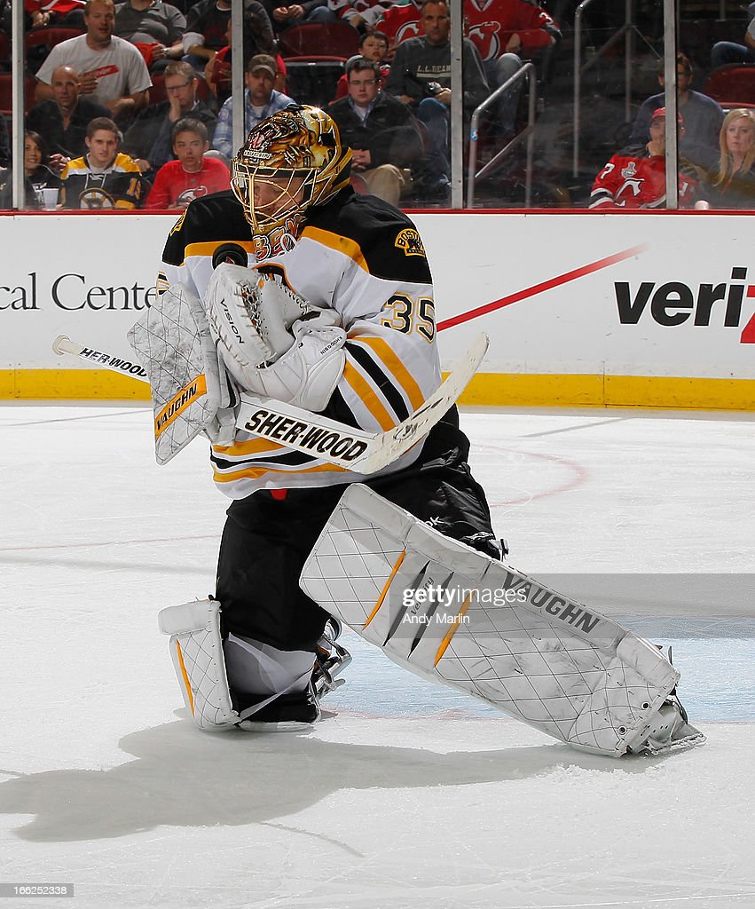 <a gi-track='captionPersonalityLinkClicked' href=/galleries/search?phrase=Anton+Khudobin&family=editorial&specificpeople=722106 ng-click='$event.stopPropagation()'>Anton Khudobin</a> #35 of the Boston Bruins makes a save against the New Jersey Devils during the game at the Prudential Center on April 10, 2013 in Newark, New Jersey.