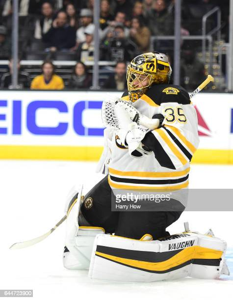 Anton Khudobin of the Boston Bruins makes a save on an Los Angeles Kings shot during the second period at Staples Center on February 23 2017 in Los...