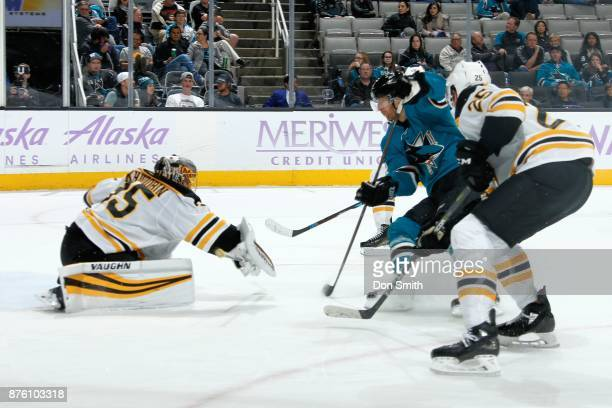 Anton Khudobin of the Boston Bruins reaches out with his stick during a NHL game against the San Jose Sharks at SAP Center on November 18 2017 in San...