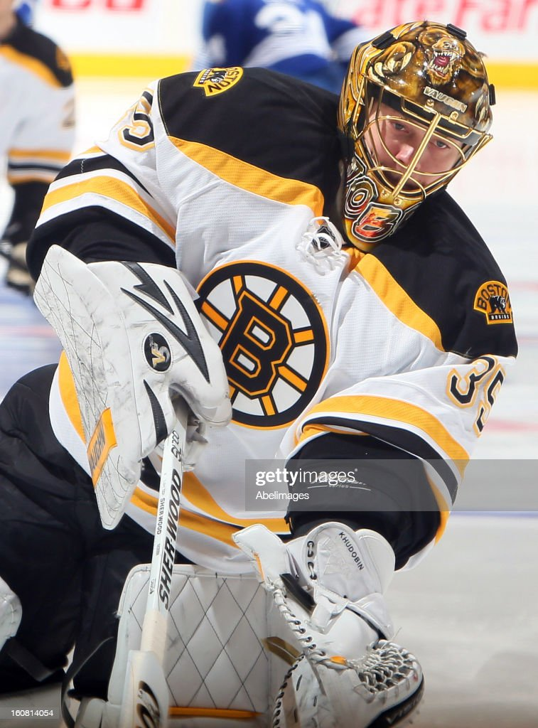 Anton Khudobin #35 of the Boston Bruins shoots the puck during warmup before NHL action against the Toronto Maple Leafs at the Air Canada Centre February 2, 2013 in Toronto, Ontario, Canada.