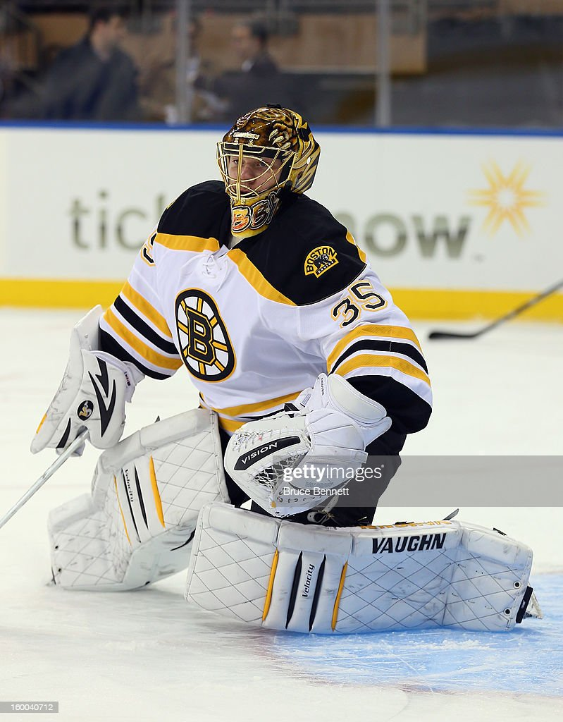 Anton Khudobin #35 of the Boston Bruins skates in warmups prior to the game against New York Rangers at Madison Square Garden on January 23, 2013 in New York City. The Rangers defeated the Bruins 4-3 in overtime.